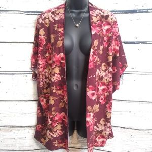 Picky Girl/ Maroon Floral Kimono Cover Up/ Medium